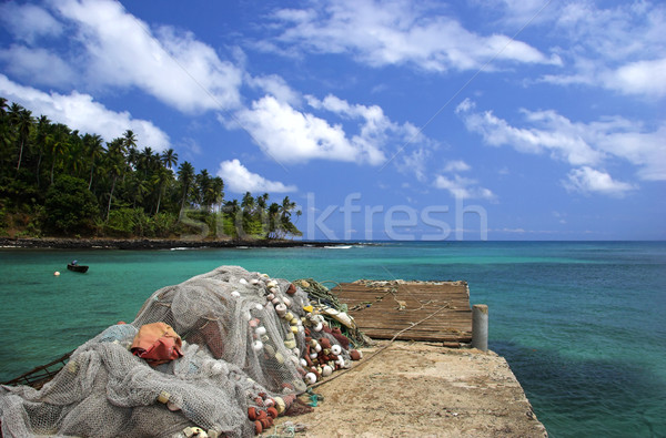 Ekvator plaj güzel muhteşem mavi gökyüzü su Stok fotoğraf © iko