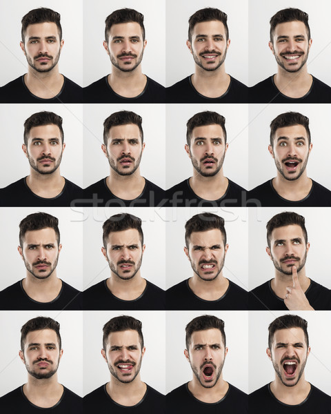 Homme différent multiple portraits expressions Photo stock © iko