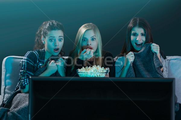 страшно смотрят фильмы ужас Сток-фото © iko