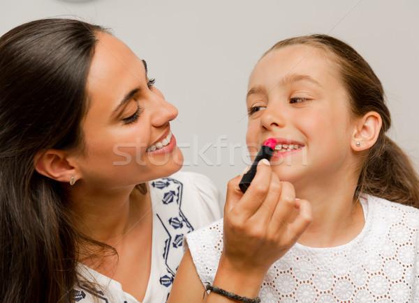 Mãe filha jogar batom mulher Foto stock © iko