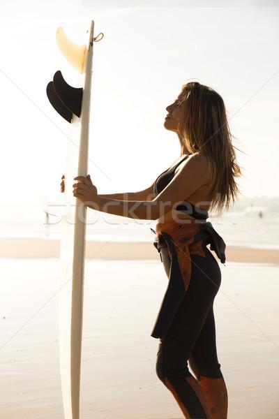 Sörf gün güzel sörfçü kız Stok fotoğraf © iko