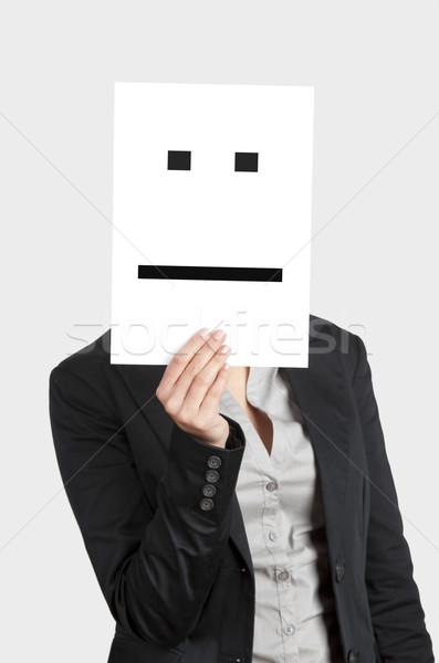 Teleurgesteld gezicht vrouw tonen blanco papier emoticon Stockfoto © iko