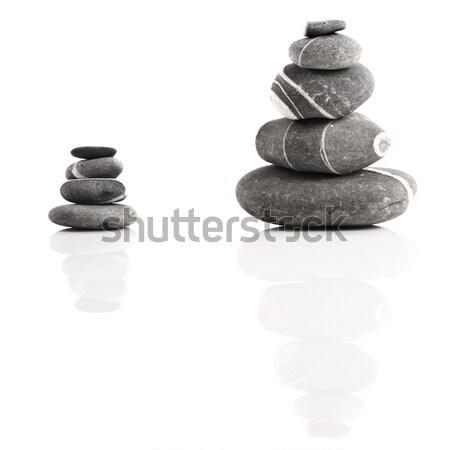 Foto stock: Estância · termal · pedras · pirâmide · isolado · branco · reflexão