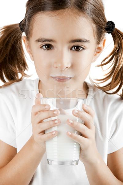 ストックフォト: ミルク · 口ひげ · 女の子 · ドリンク · カップ · 少女