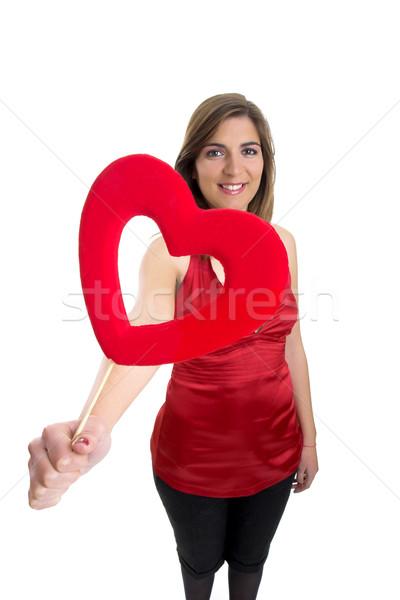 Valentine kadın kalp eller gülümseme vücut Stok fotoğraf © iko