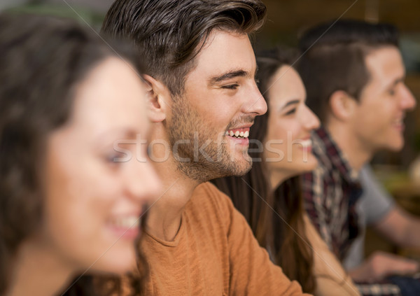 Friends having fun at the restaurant Stock photo © iko