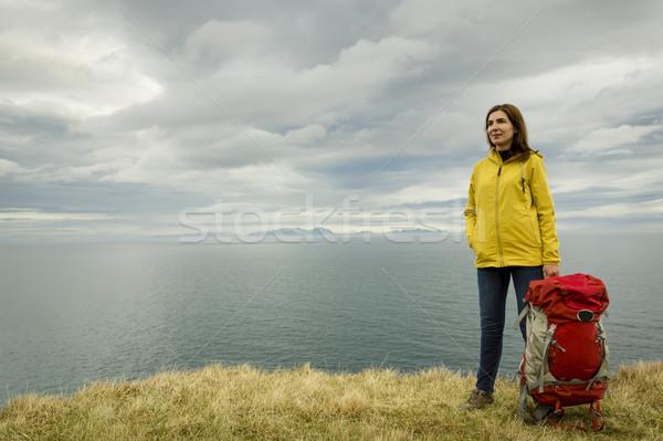 Hátizsákos turista turista női kész kaland nő Stock fotó © iko