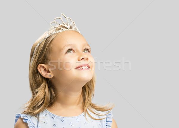 Aranyos kicsi hercegnő portré boldog kislány Stock fotó © iko