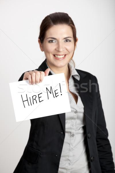 Stock fotó: Engem · üzletasszony · tart · kártya · tábla · szöveges · üzenet