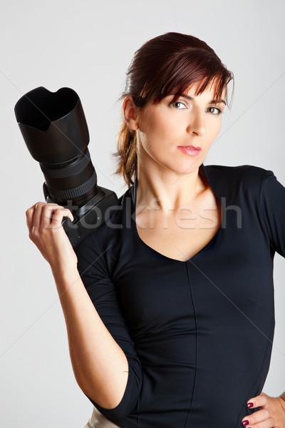Kadın fotoğrafçı portre güzel çekici genç kadın Stok fotoğraf © iko