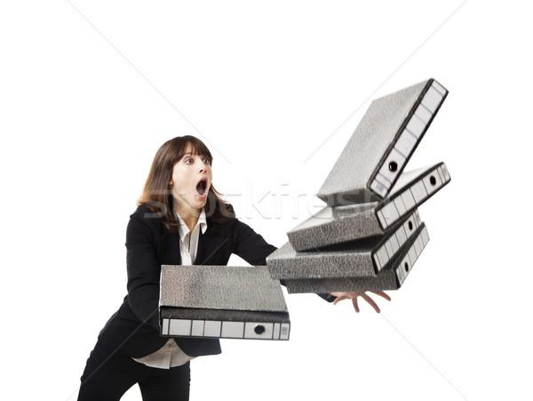 Caer carpetas mujer oficina manos Foto stock © iko