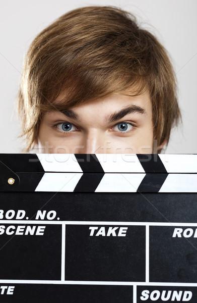 Tonen portret jonge man achter glimlach man Stockfoto © iko