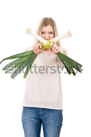 Alho-porro lutar belo mulher loira Foto stock © iko