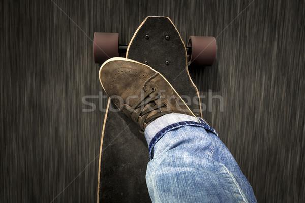 Skater ragazzo dettaglio giovane piedi equitazione Foto d'archivio © iko