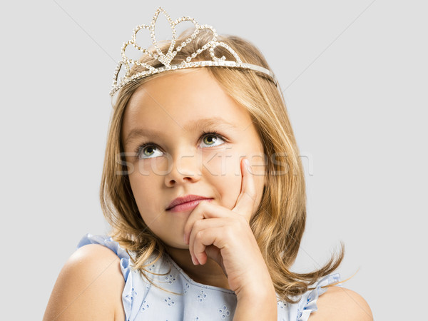 Aranyos kicsi hercegnő álmodik portré boldog Stock fotó © iko