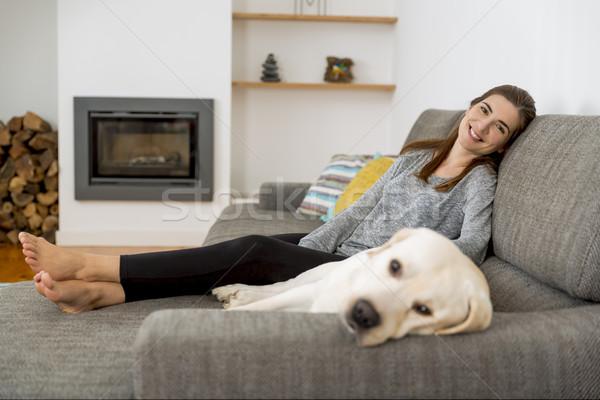 Me mi mejor amigo mujer hermosa casa mejores amigos Foto stock © iko