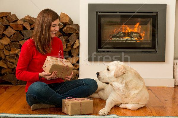 Stock photo: Me and my Dog love gifts