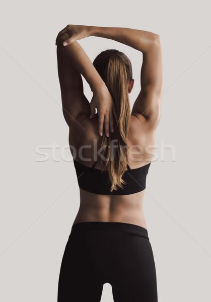 Stok fotoğraf: Benim · silah · atış · genç · kadın · kadın