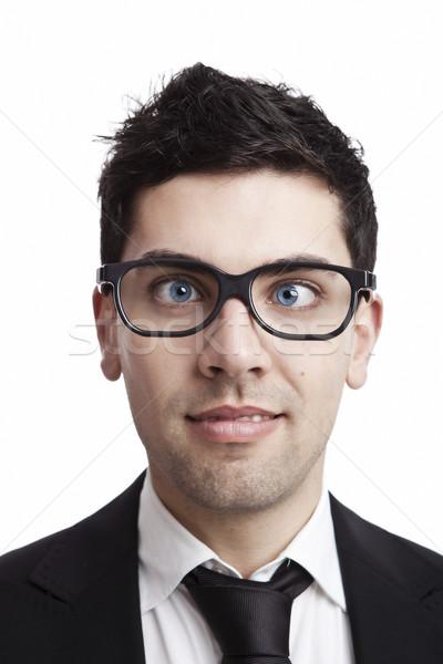 Nerd empresário engraçado retrato jovem olhos Foto stock © iko