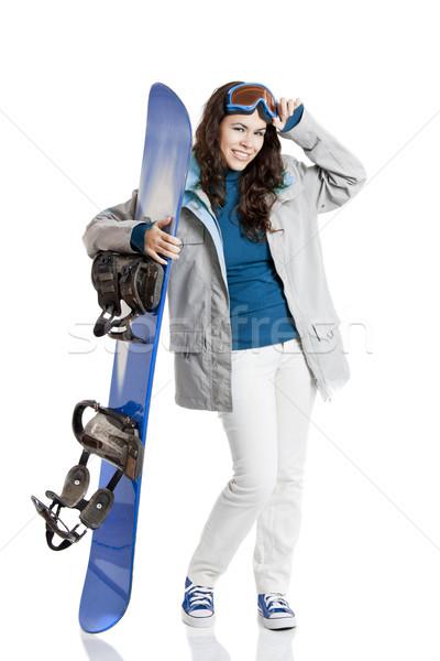 Snowboard vrouw meisje geïsoleerd witte sport Stockfoto © iko