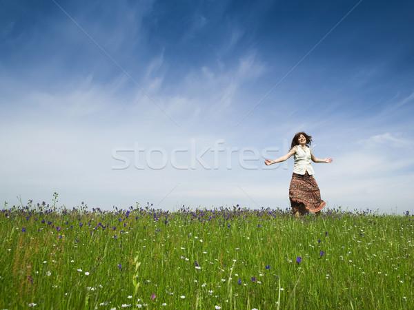 ダンス 自然 若い女性 美しい 緑 草原 ストックフォト © iko