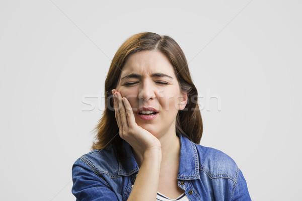 Sentimento terrível dor de dente frustrado mulher dor Foto stock © iko