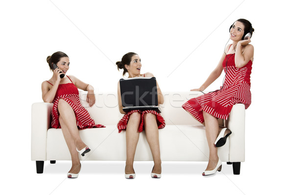 Three happy twins sisters Stock photo © iko