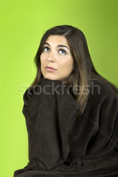 Thinking woman rolled in a blancket Stock photo © iko