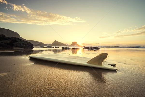Prancha de surfe pôr do sol silhueta praia reflexão água Foto stock © iko