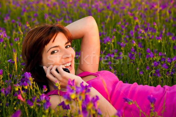 Kız konuşma cep telefonu güzel genç kadın doğa Stok fotoğraf © iko