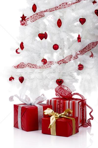 Zdjęcia stock: Christmas · prezenty · biały · drzewo · szkła · gwiazdki