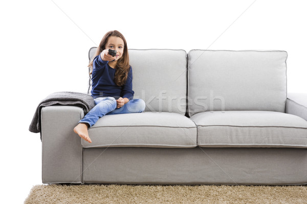 Lány tart távirányító kislány irányítás gyerekek Stock fotó © iko