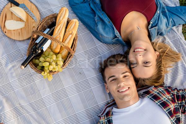 Picknick dag gelukkig park ontspannen Stockfoto © iko