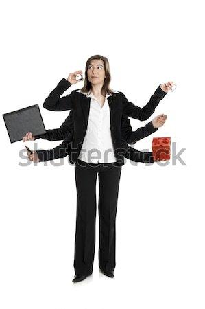 осьминога женщину красивой деловой женщины шесть оружия Сток-фото © iko
