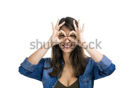 Stupide visage belle femme mains yeux Photo stock © iko