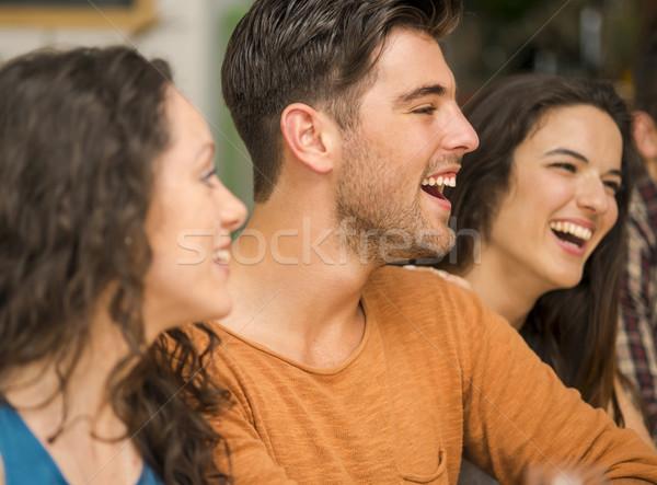 Barátok szórakozás étterem több nemzetiségű csoport boldog Stock fotó © iko