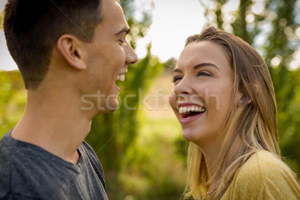 Sevinç sevmek portre genç güzel çift Stok fotoğraf © iko