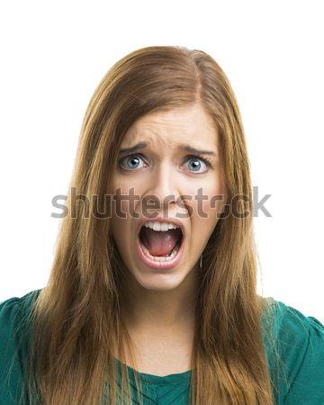 Beautiful young woman shouting Stock photo © iko