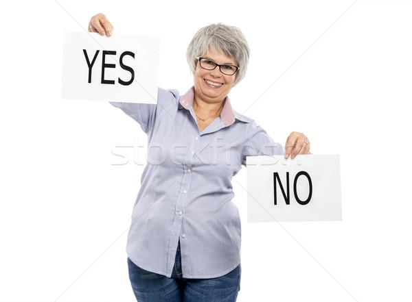 Igen nem választás boldog idős nő tart Stock fotó © iko