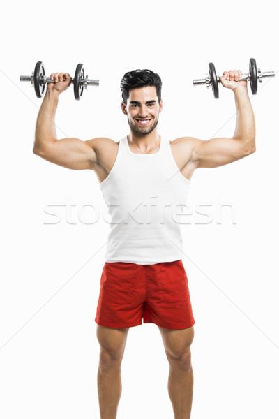 Photo stock: Athlétique · homme · poids · portrait · élégant