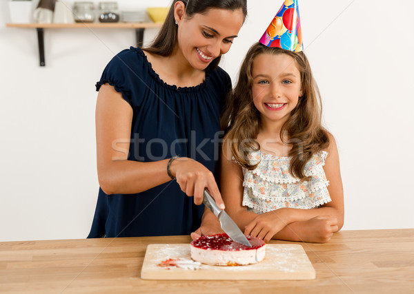 именинный торт выстрел матери дочь семьи Сток-фото © iko