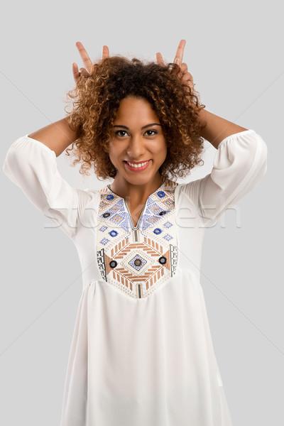 счастливым глупый красивой афроамериканец женщину Сток-фото © iko