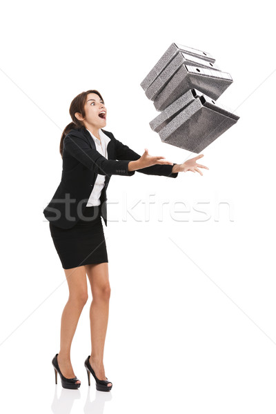 Stumble while carrying folders Stock photo © iko
