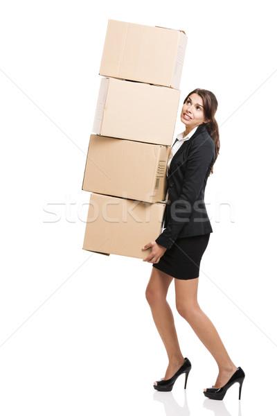 Iş kadını kart kutuları yalıtılmış beyaz Stok fotoğraf © iko