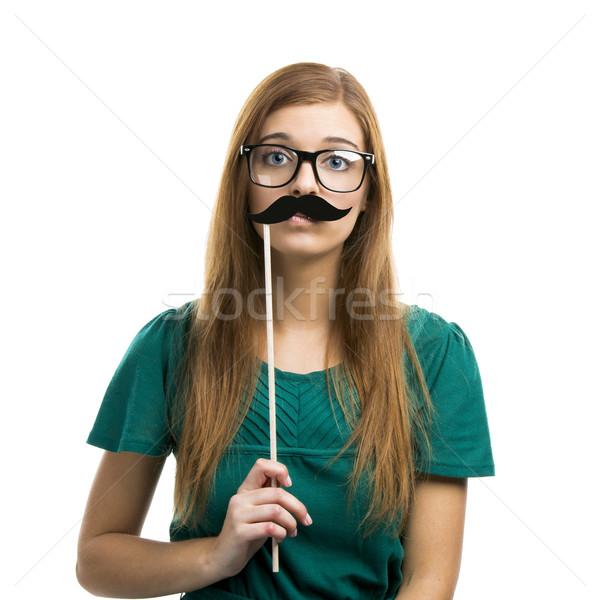 Photo stock: Fille · moustache · portrait · belle · fille · isolé · blanche