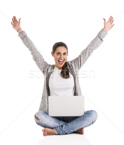 Gelukkig student mooie vrouw armen omhoog Stockfoto © iko