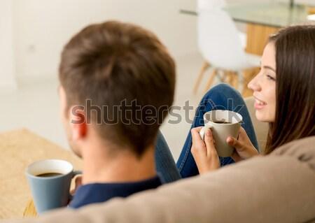 Young couple drinking coffee Stock photo © iko