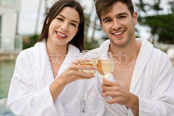 Tatma şarap lüks otel cam Stok fotoğraf © iko