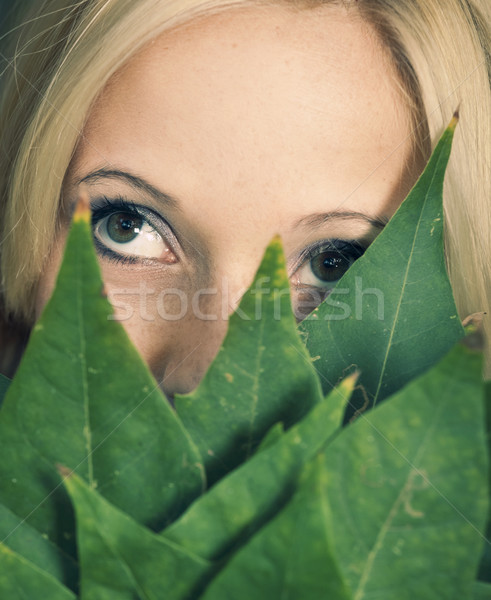 Levelek arc közelkép portré lány tart Stock fotó © iko