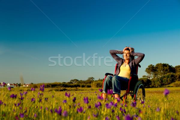 障害者 女性 車いす 緑 草原 空 ストックフォト © iko